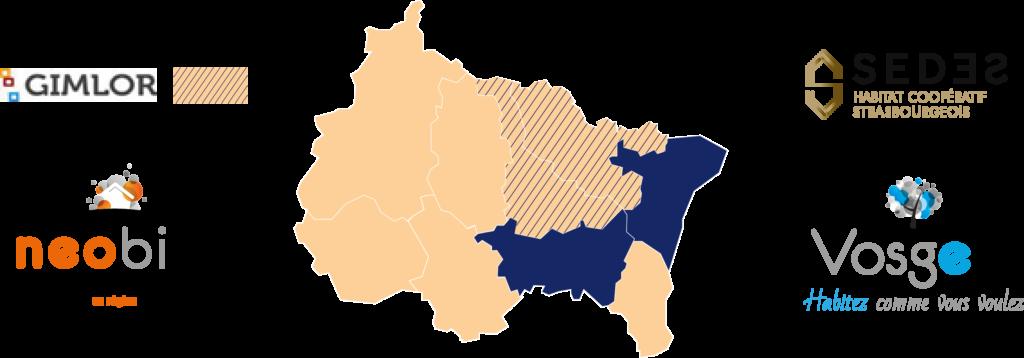 Carte de la région Grand Est et des organismes du groupe Estoria